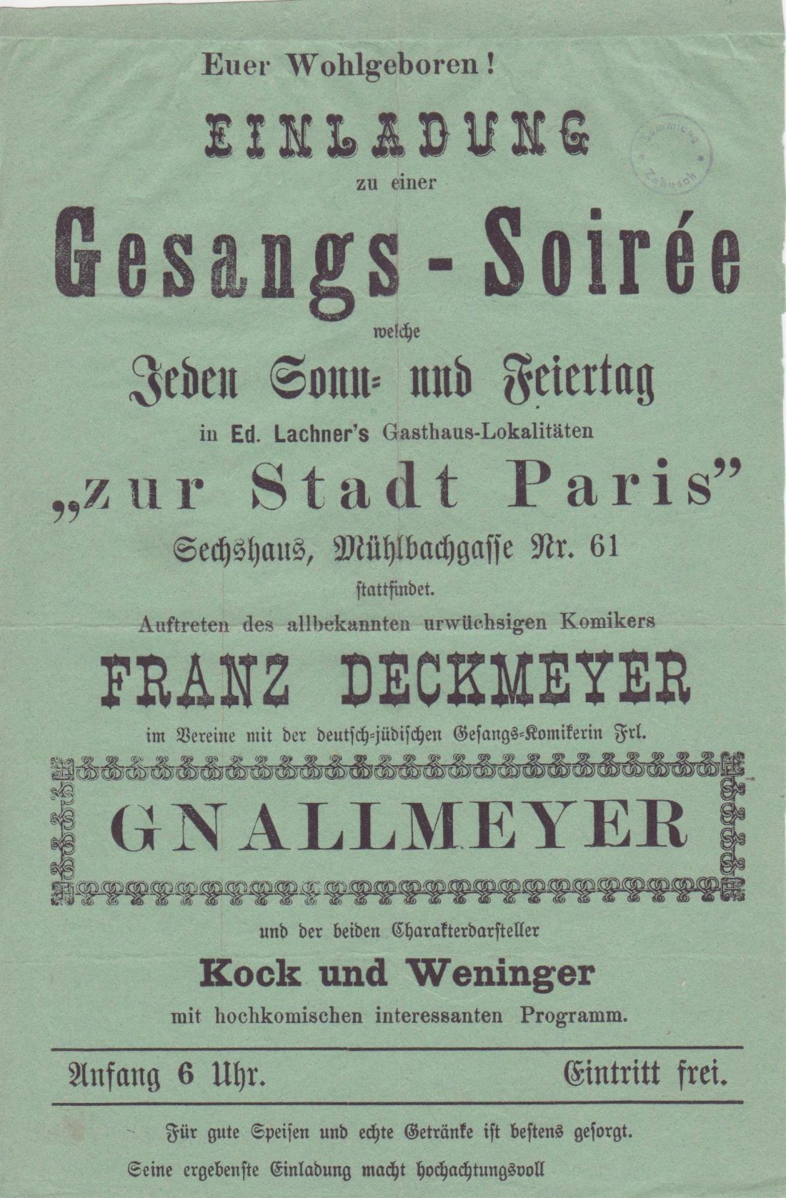Einladung, Lachner, Mühlbachgasse (Stadt Paris) 001